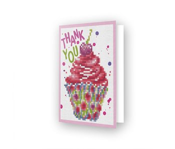 Diamond Dotz Cup Cake Thank You Greeting Card