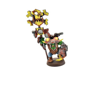 ORKS Nob with Waaagh! Banner  WELL PAINTED #1 METAL Warhammer 40k