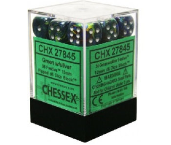 Festive 36 * D6 Green / Silver 12mm Chessex Dice (CHX27845*)