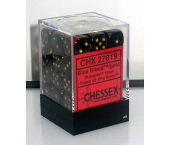 Scarab 36 * D6 Blue Blood / Gold 12mm Chessex Dice (CHX27819)
