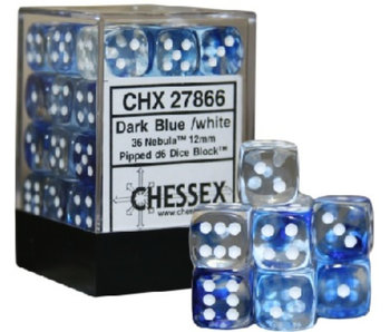 Nebula 36 * D6 Dark Blue / White 12mm Chessex Dice (CHX27866)