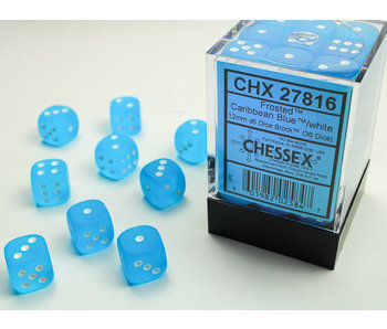 Frosted 36 * D6 Caribbean Blue / White 12mm Chessex Dice (CHX27816)