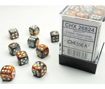 Gemini 36 * D6 Copper-Steel / White 12mm Chessex Dice (CHX26824)