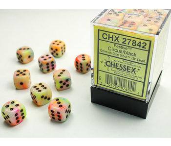Festive 36 * D6 Circus / Black 12mm Chessex Dice (CHX27842)