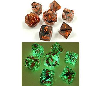 Nebula 7-Die Set Copper Matrix / Orange Luminary Chessex Dice (CHX30040)