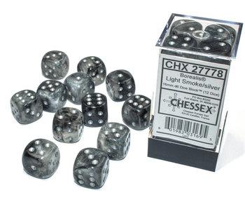 Borealis 12 * D6 Light Smoke / Silver 16mm Luminary Chessex Dice (CHX27778)
