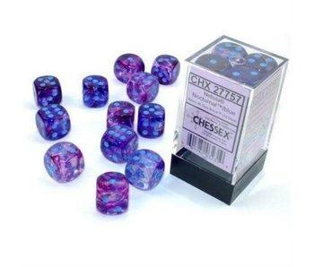 Nebula 12 * D6 Nocturnal / Blue Luminary 16mm Chessex Dice (CHX27757)