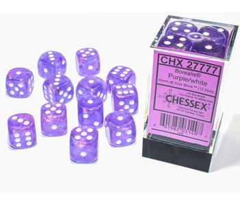 Borealis 12 * D6 Purple / White 16mm Luminary Chessex Dice (CHX27777)
