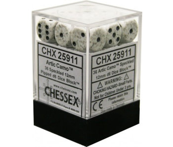 Speckled 36 * D6 Artic Camo 12mm Chessex Dice (CHX25911)