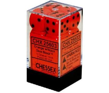 Opaque 12 * D6 Orange / Black 16mm Chessex Dice (CHX25603)