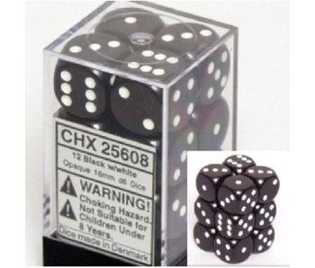 Opaque 12 * D6 Black / White 16mm Chessex Dice (CHX25608)