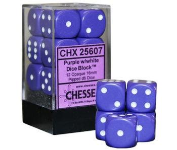 Opaque 12 * D6 Purple / White 16mm Chessex Dice (CHX25607)