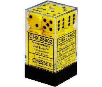 Opaque 12 * D6 Yellow / Black 16mm Chessex Dice (CHX25602)