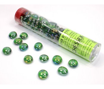 Glass Stones Crystal Green Iridized Qty 40 5.5 inches Tube Chessex (CHX01175)
