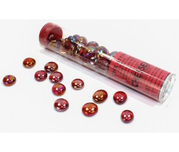 Glass Stones Crystal Red Iridized Qty 40 5.5 inches Tube Chessex (CHX01174)