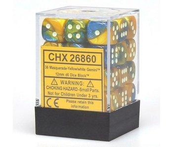 Gemini 36 * D6 Masquerade-Yellow/ White 12mm Chessex Dice (CHX26860)