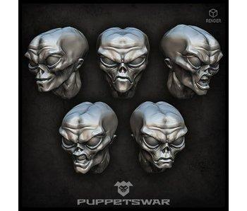 Puppetswar Gray Alien Heads (S383)