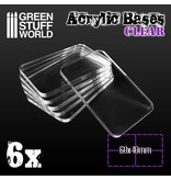 Green Stuff World Acrylic Bases - Square 60x40mm CLEAR