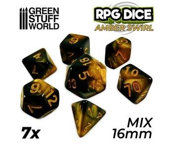 GSW 7x Mix 16mm Dice - Amber Swirl
