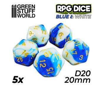 GSW 5x D20 20mm Dice - Blue White