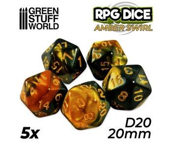 GSW 5x D20 20mm Dice - Amber Swirl