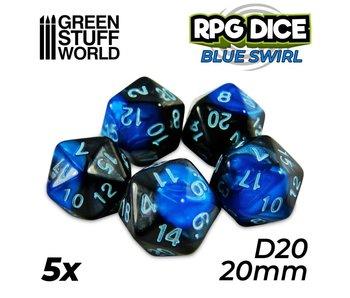GSW 5x D20 20mm Dice - Blue Swirl