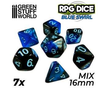 GSW 7x Mix 16mm Dice - Blue Swirl