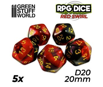 GSW 5x D20 20mm Dice - Red Swirl