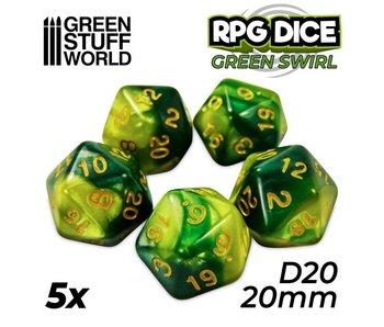 GSW 5x D20 20mm Dice - Green Swirl