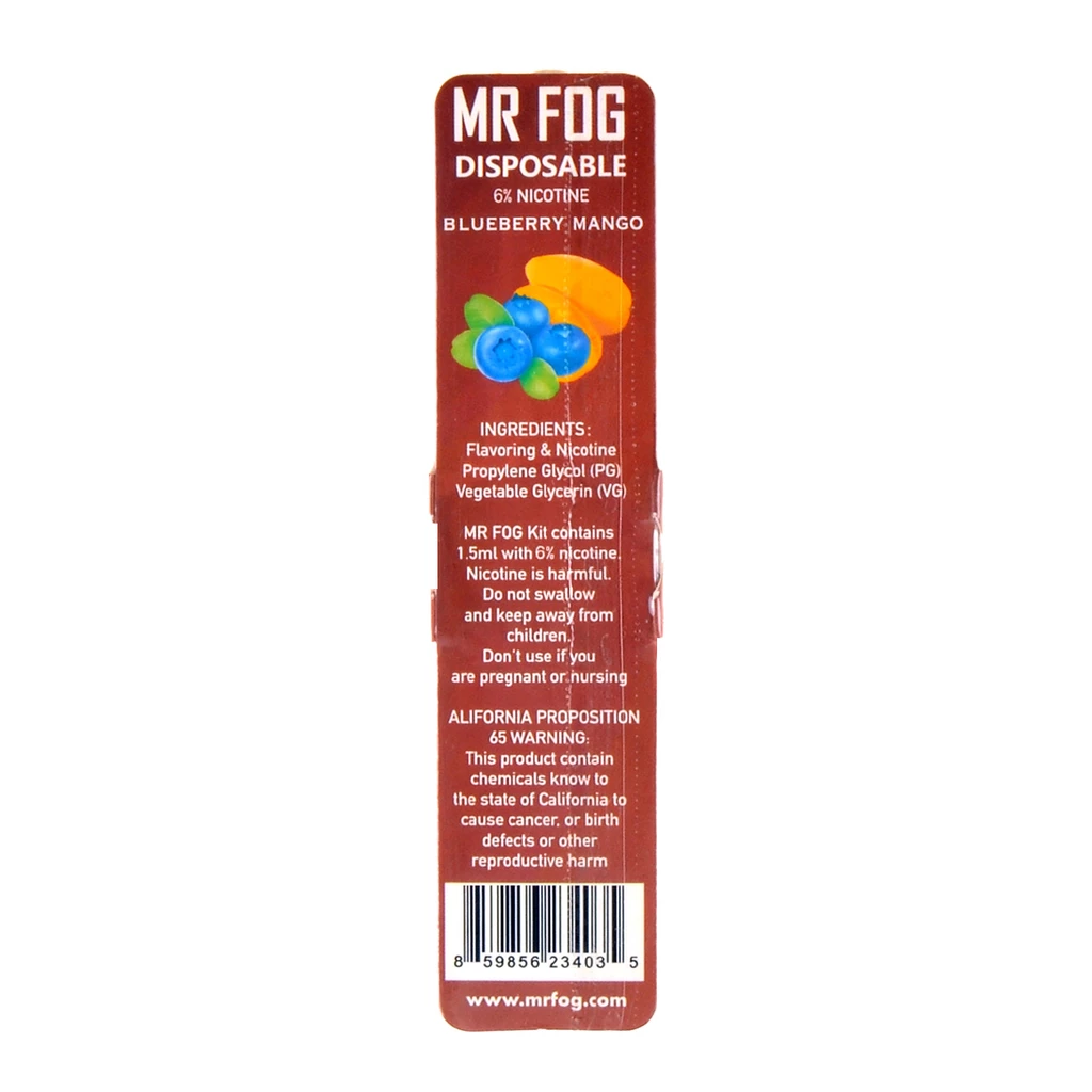 MR FOG DISPOSABLE POD DEVICE 1.5ML POD DEVICE 6% BLUEBERRY MANGO