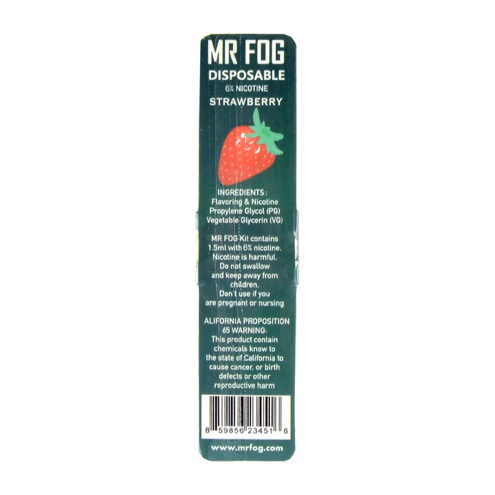 MR FOG DISPOSABLE POD DEVICE 1.5ML POD DEVICE 6% STRAWBERRY