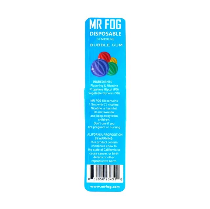 MR FOG DISPOSABLE POD DEVICE 1.5ML POD DEVICE 6% BUBBLE GUM