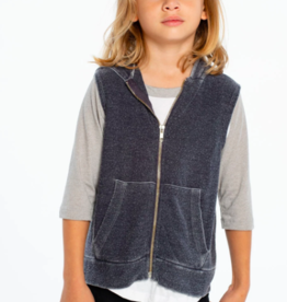 Chaser Cozy Knit Sleeveless Zip Up Hoodie