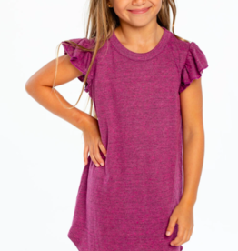 Chaser Triblend Flutter Sleeve Shirttail Dress