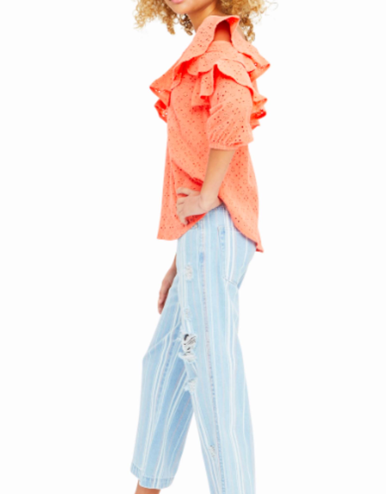 Habitual Girls Cherie Ruffled Asymmetrical Top