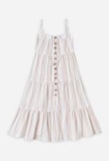 Rylee + Cru sand stripe tiered maxi dress