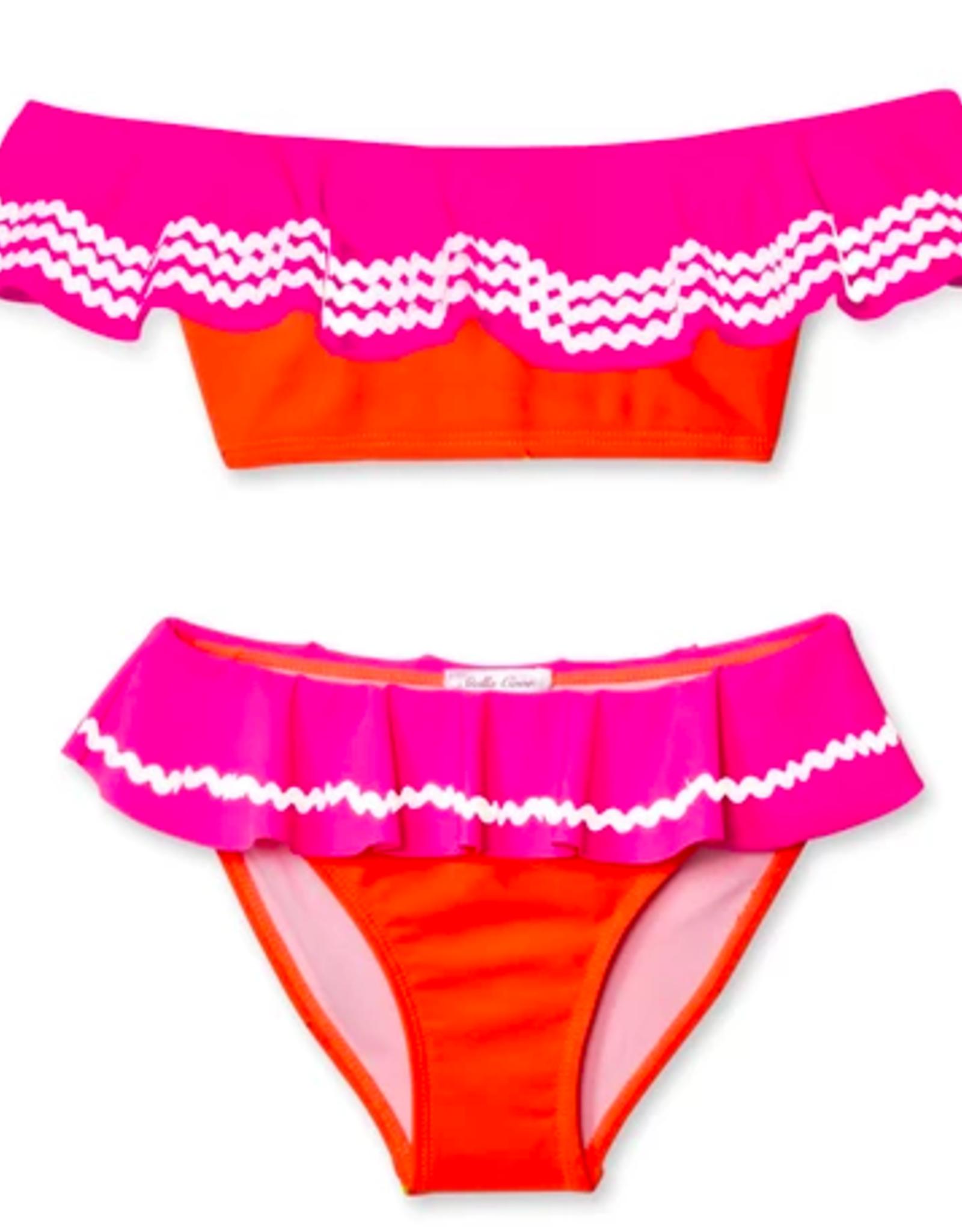 Stella Cove Neon Orange and Pink w/ White Rick Rack