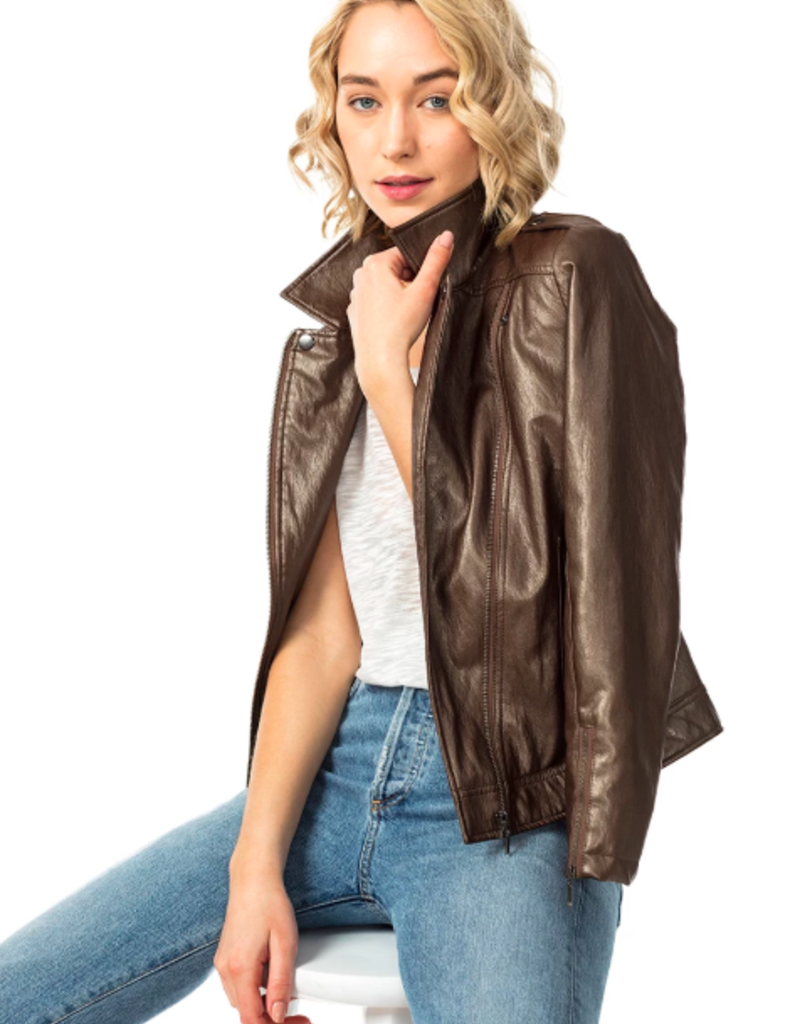 ASTARS Café Vegan Moto Layered Jacket