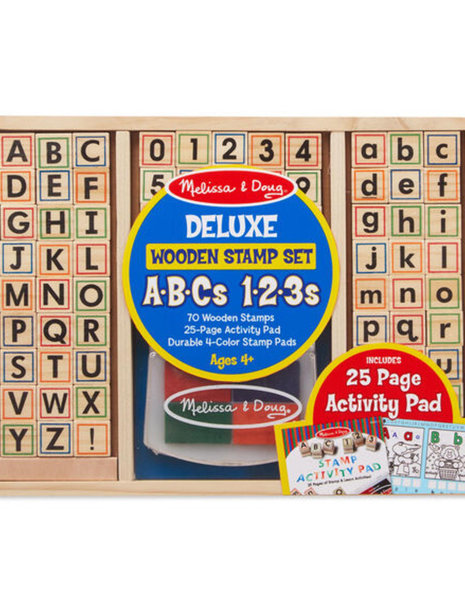 Melissa & Doug Deluxe Wooden Stamp Set - ABCs - 123s