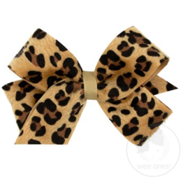 Wee Ones Medium Faux Leopard Fur Overlay Bow