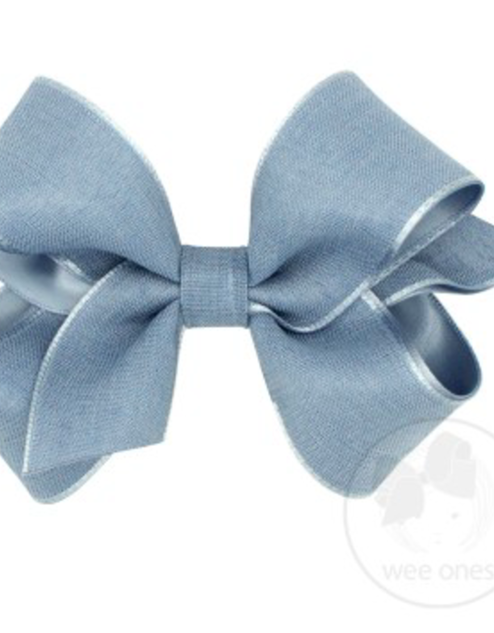 Wee Ones Medium Canvas Linen and Satin Overlay Bow