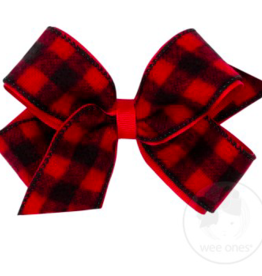 Wee Ones Medium Flannel Buffalo Check Overlay Bow