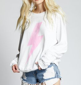 Recycled Karma ACDC Pink Bolt LS Sweater