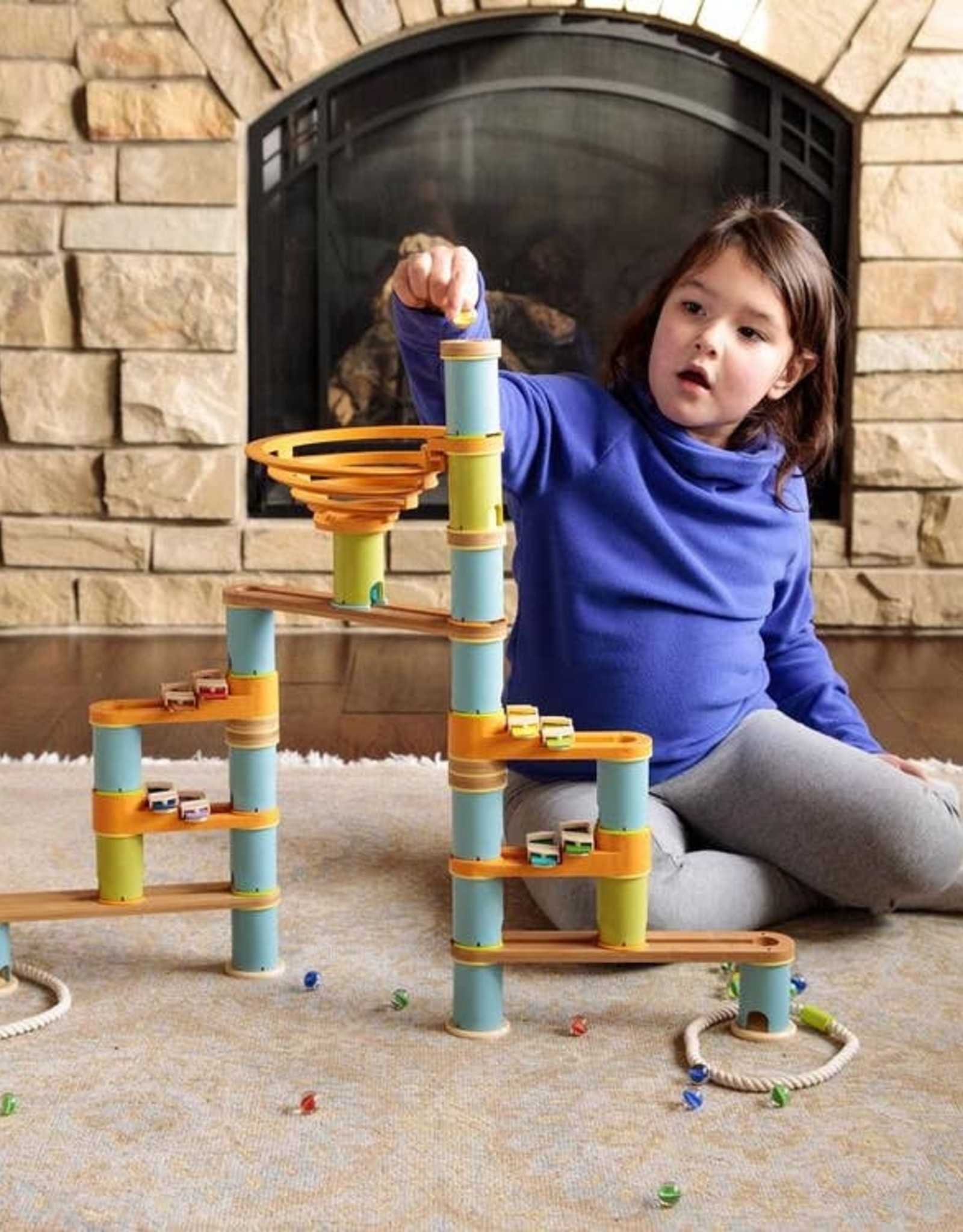 Fat Brain Toy Co. 127 Piece Bamboo Builder Marble Run