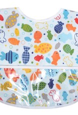 3 Marthas LAMINATED BIB-BLUE FISH