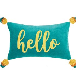Peking Handicraft Hello Tassels Embroidered Pillow