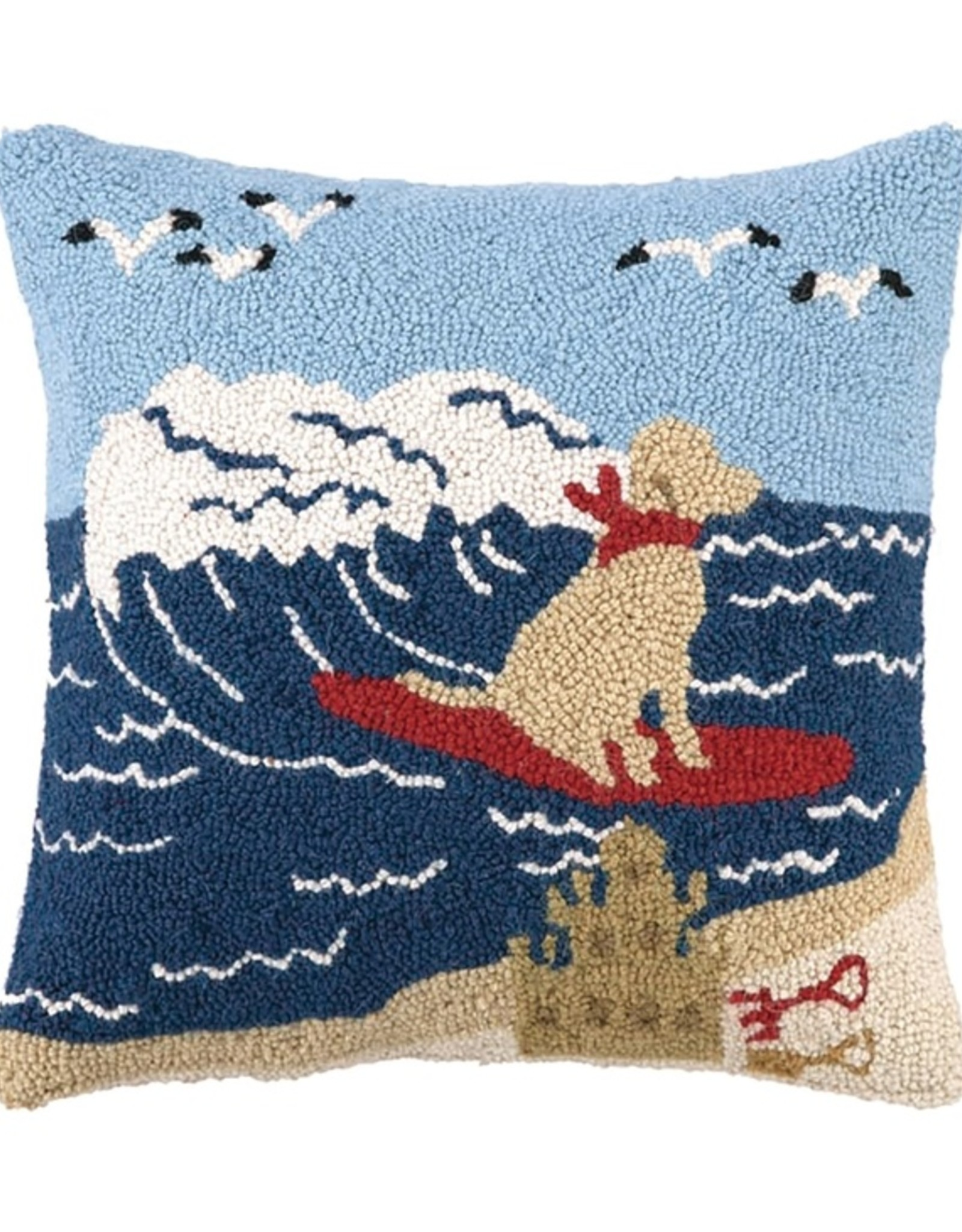 Peking Handicraft Surfing Labrador Dog Hook Pillow