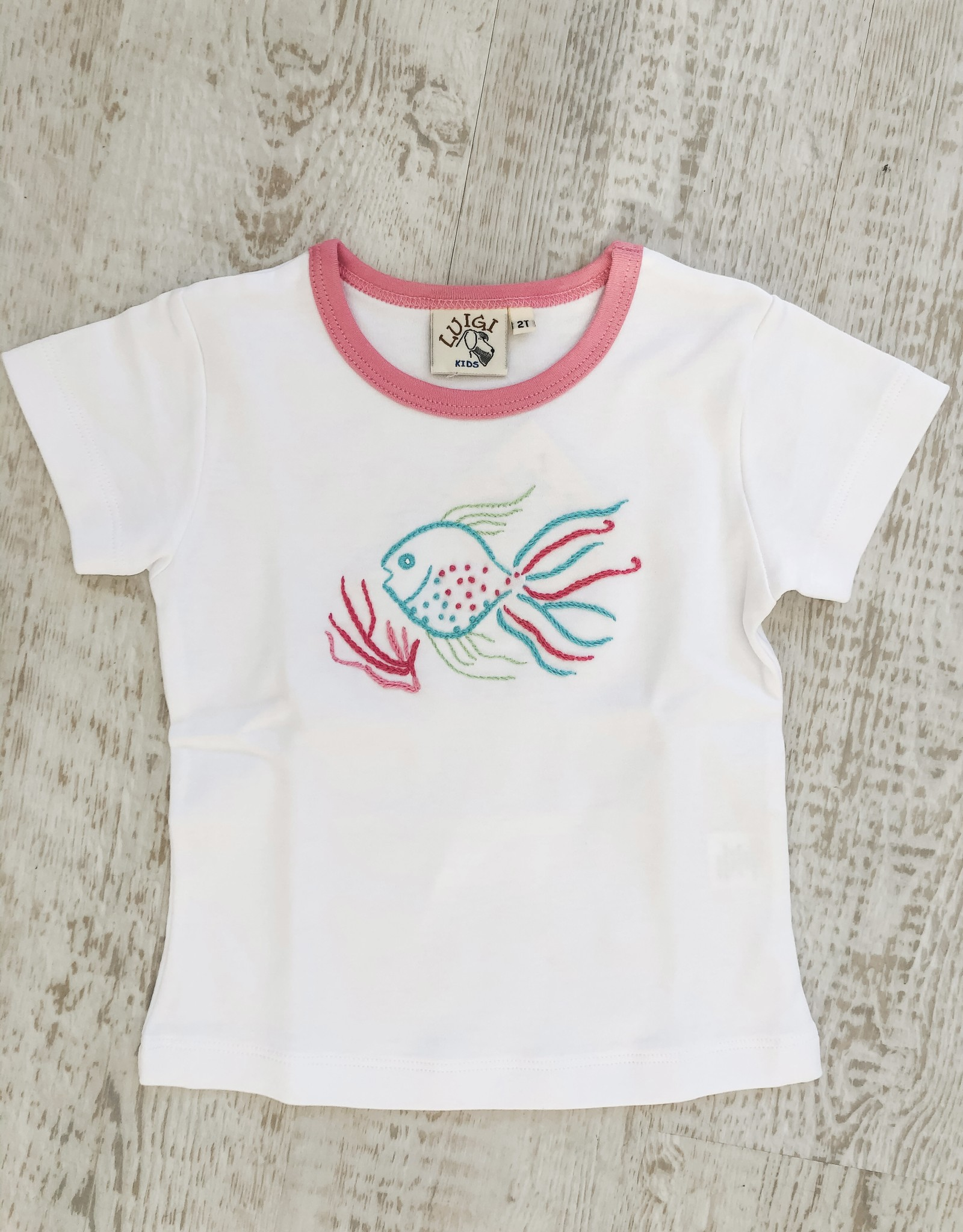 Luigi Kids Embroidered Tropical Top