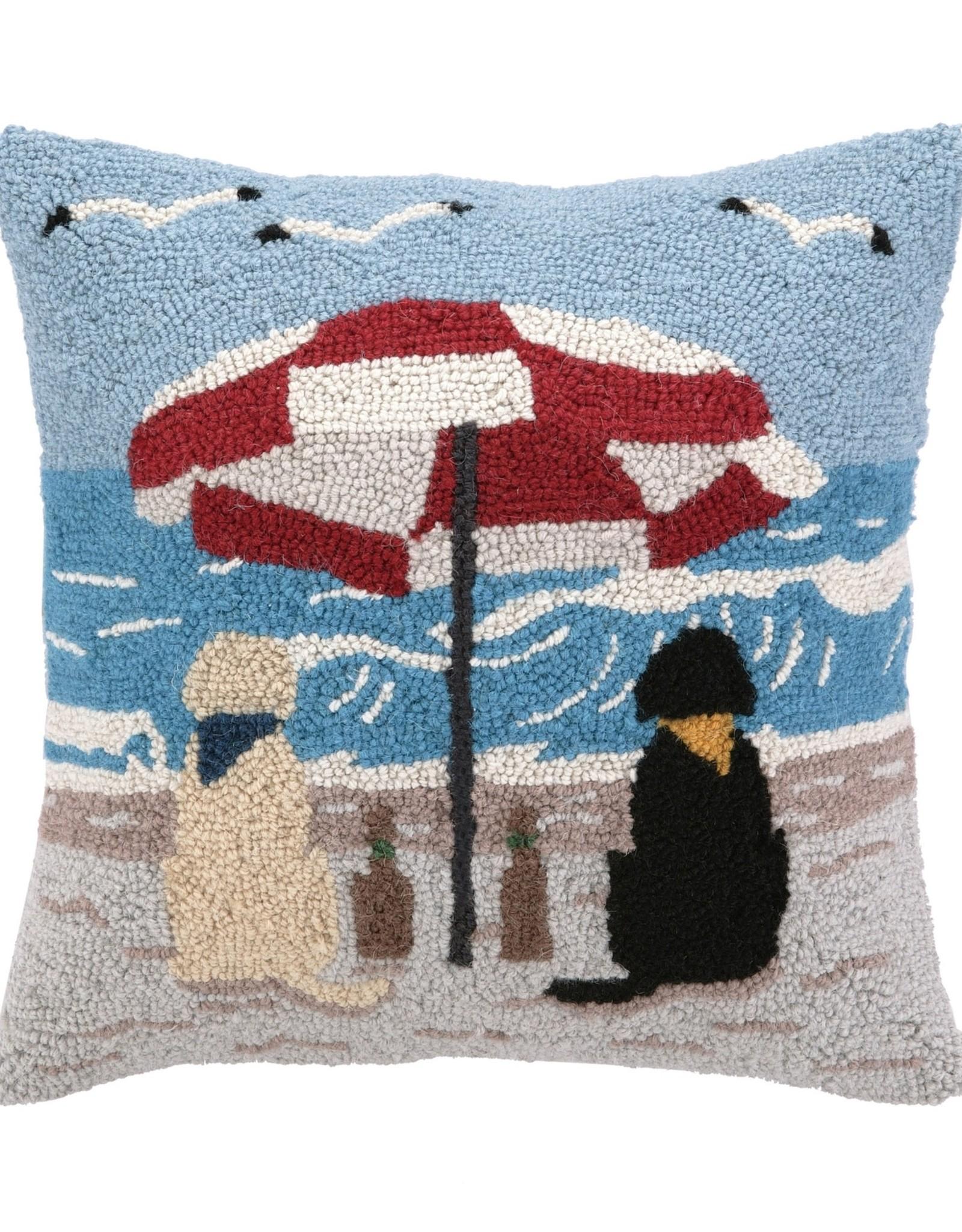 Peking Handicraft Beach Labrador Dogs Hook Pillow