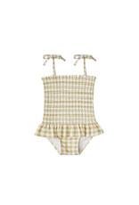 Rylee + Cru Gingham Smocked Onepiece Swimsuit
